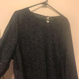 Black with white polka dot dress shirt